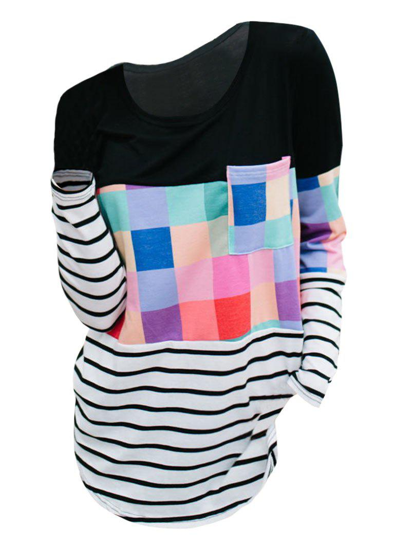 Latest Striped Colorblock Long Sleeves Pocket Tee