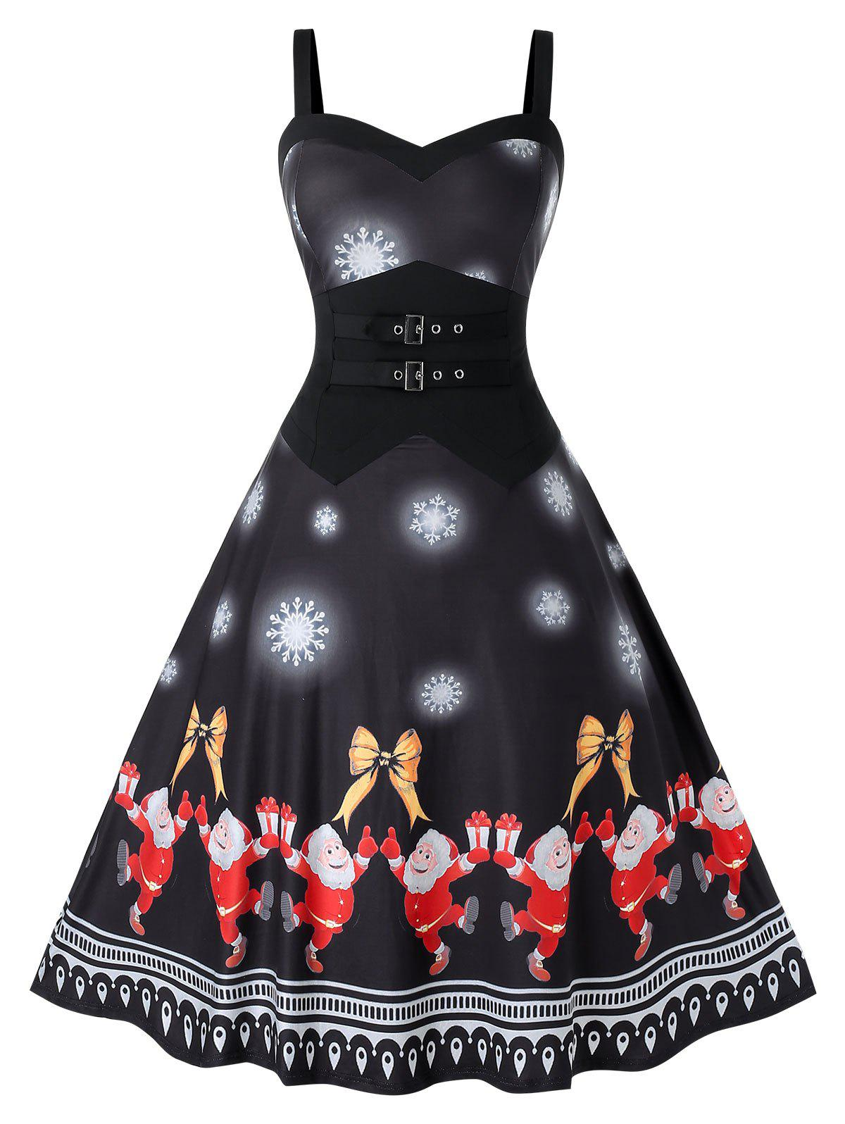 Latest Plus Size Christmas Printed Vintage Swing Dress
