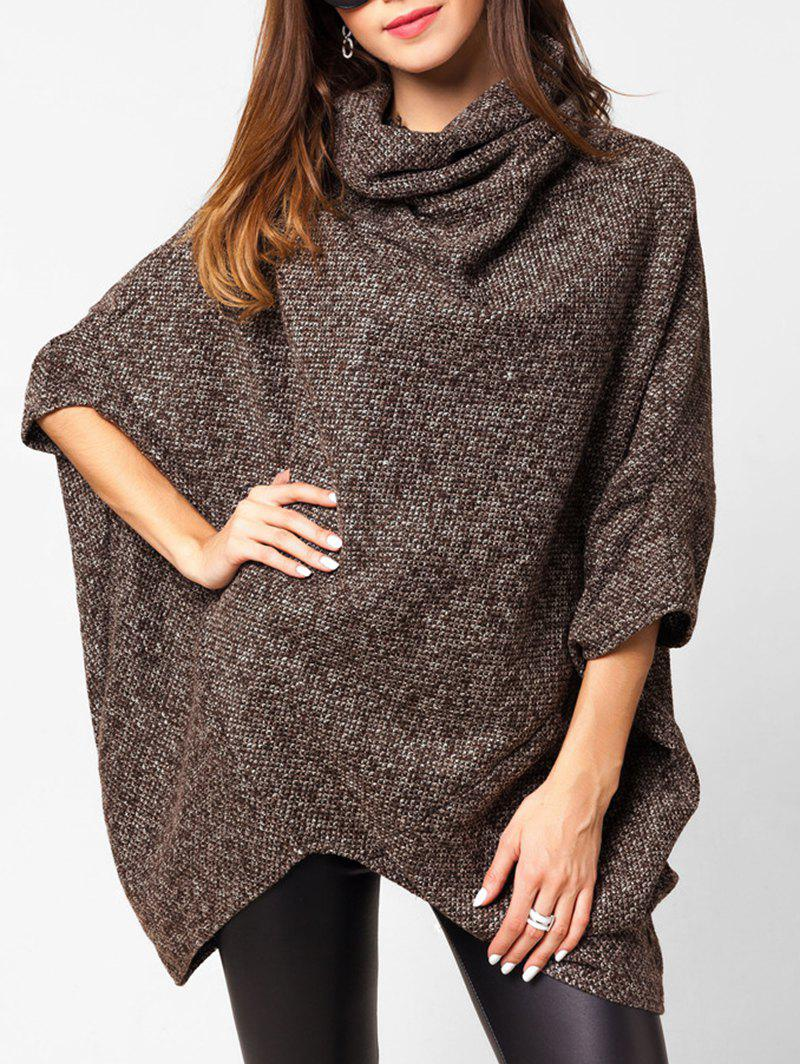 Chic Cowl Neck Heathered Longline Cape Sweater