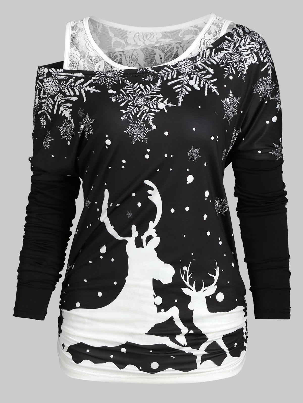 Affordable Christmas Elk Snowflake Tee and Lace Tank Top Set