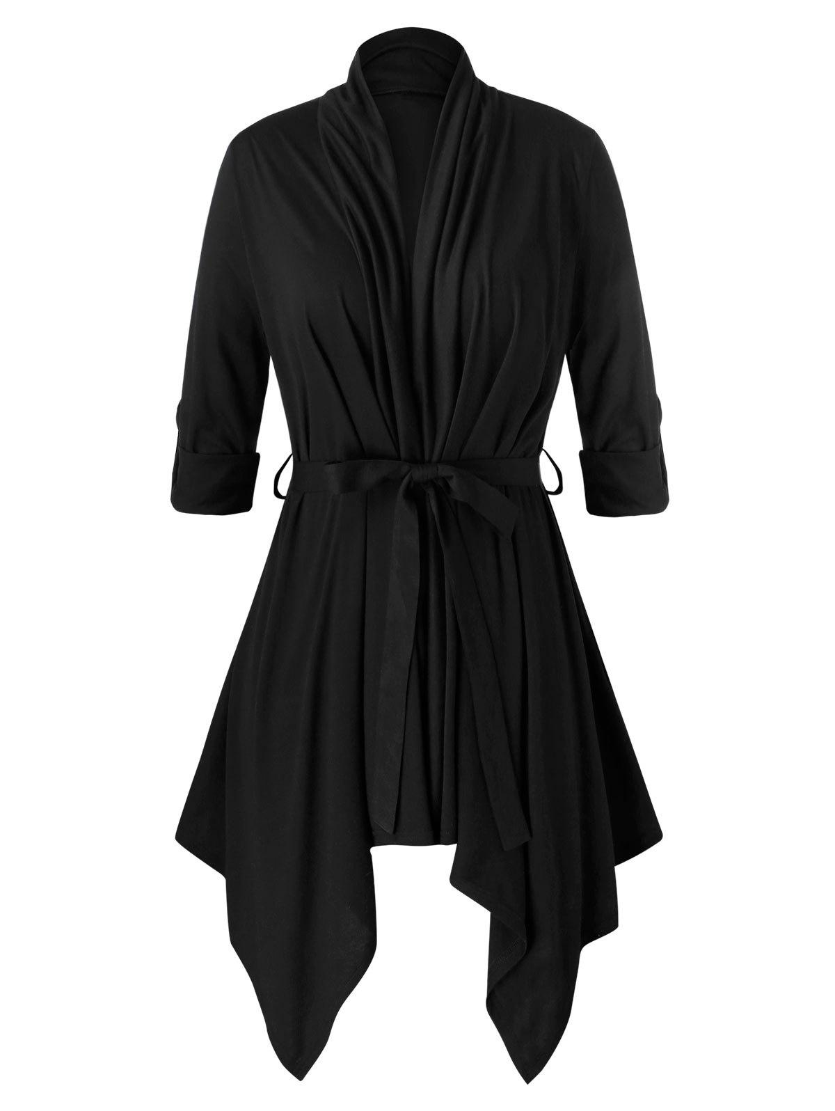 Plus Size Roll Up Sleeve Belted Asymmetric Cardigan фото