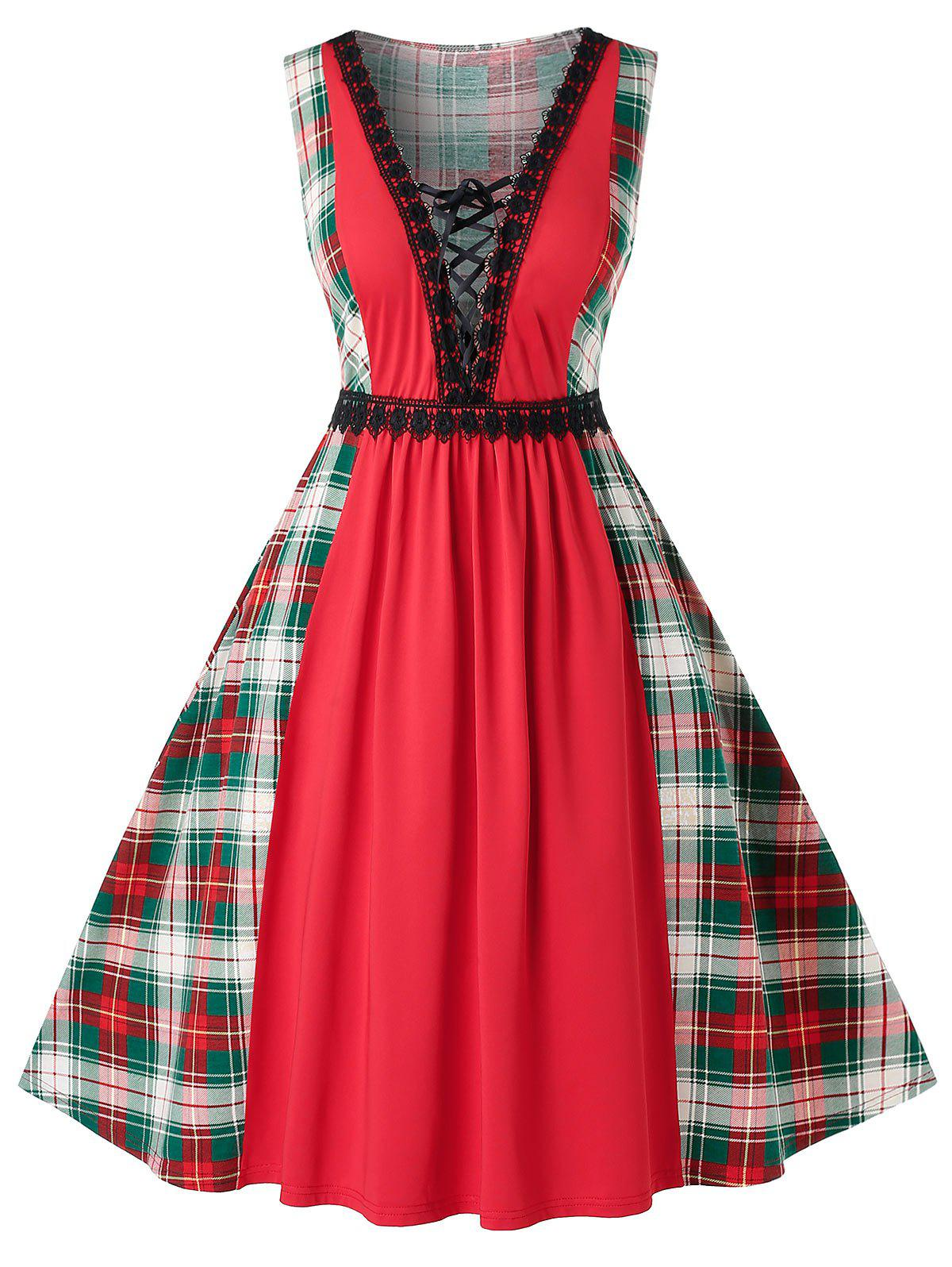 Cheap Plus Size Vintage Low Cut Lace Up Plaid Pin Up Dress