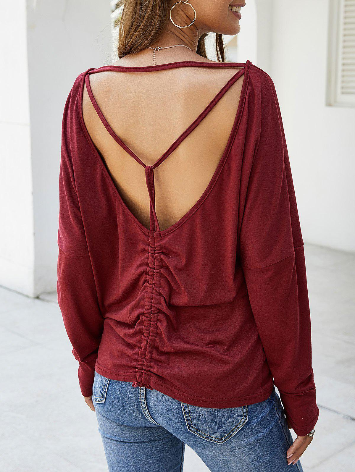 Shops Open Back Cinched Long Sleeves Tee