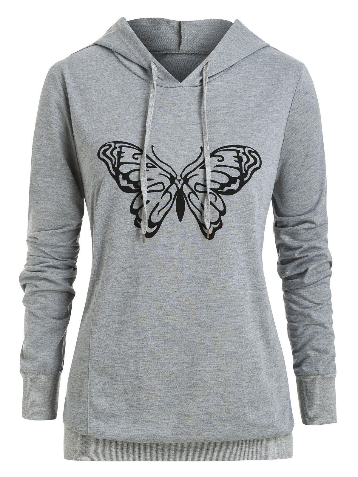 New Plus Size Butterfly Print Pullover Hoodie