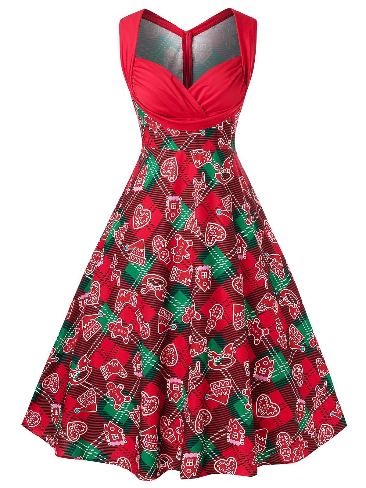 Plus Size Printed Vintage Party Dress Rosegal