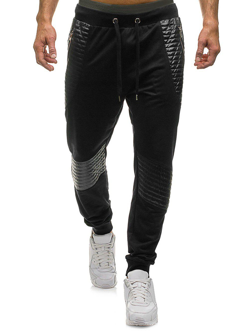 Buy Pleated Patchwork Splicing Drawstring Sport Jogger Pants