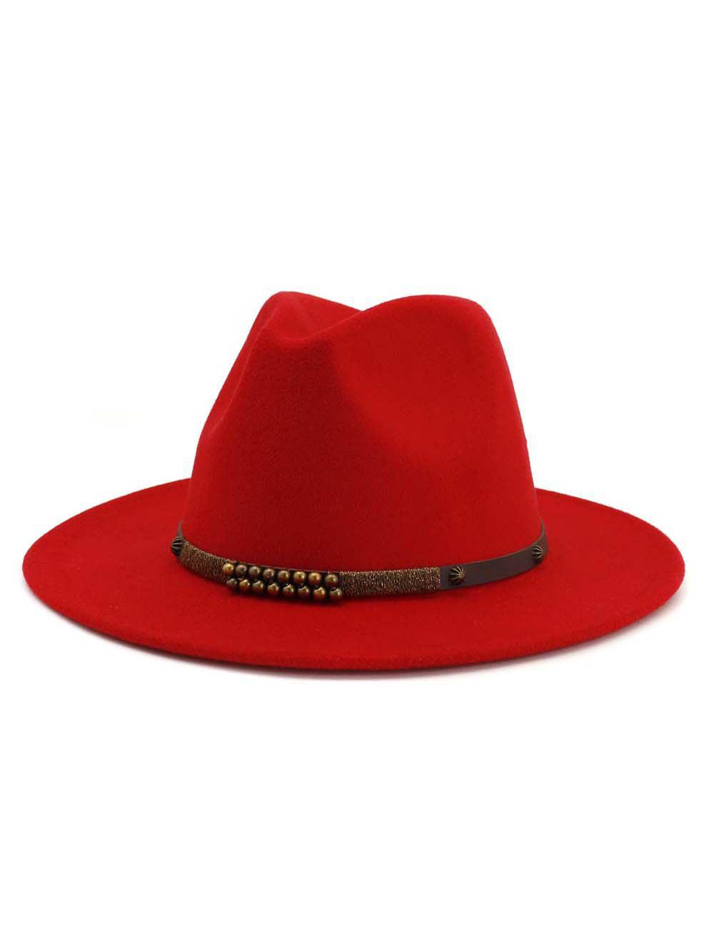 Hot Rivet Winter Woolen Jazz Classic Flat-brimmed Hat