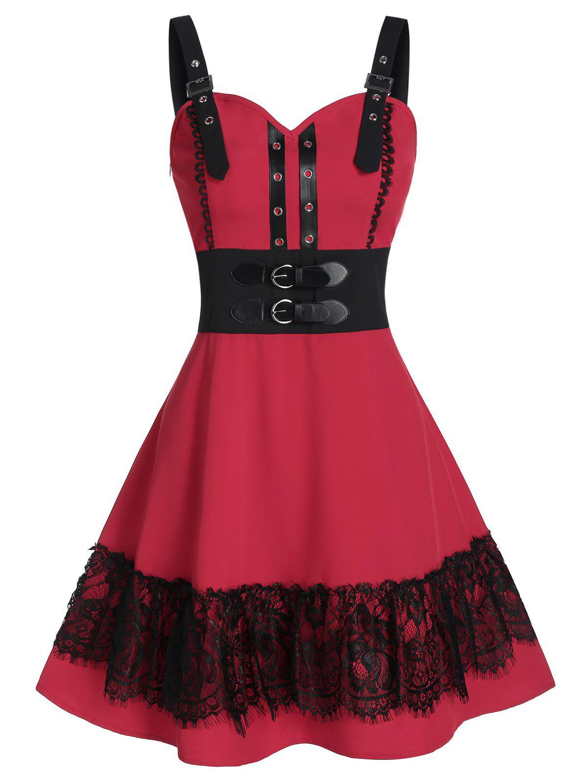 Fashion Buckle Grommets Fit and Flare Dress