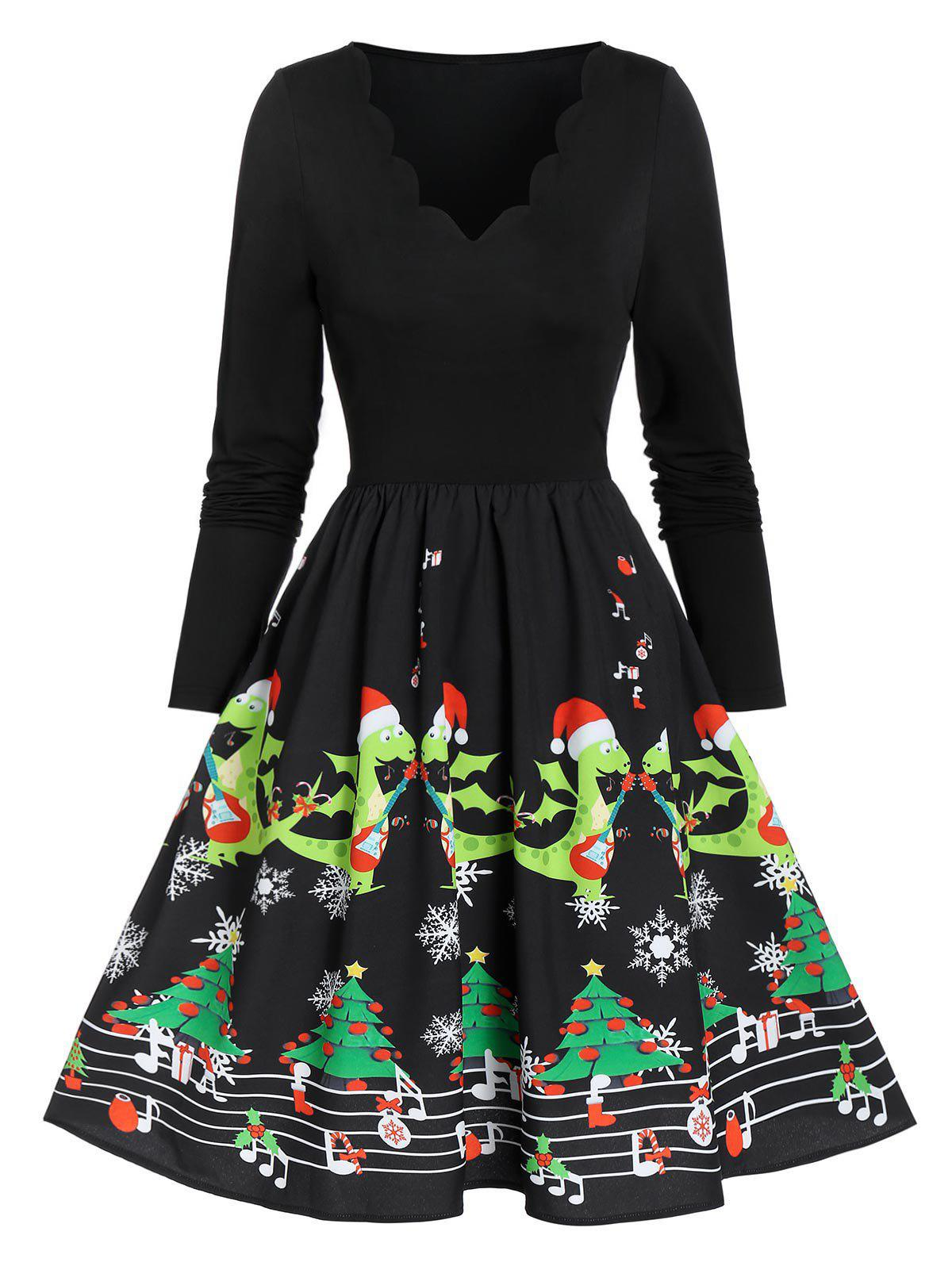 Unique Vintage Christmas Printed Scalloped Pin Up Dress