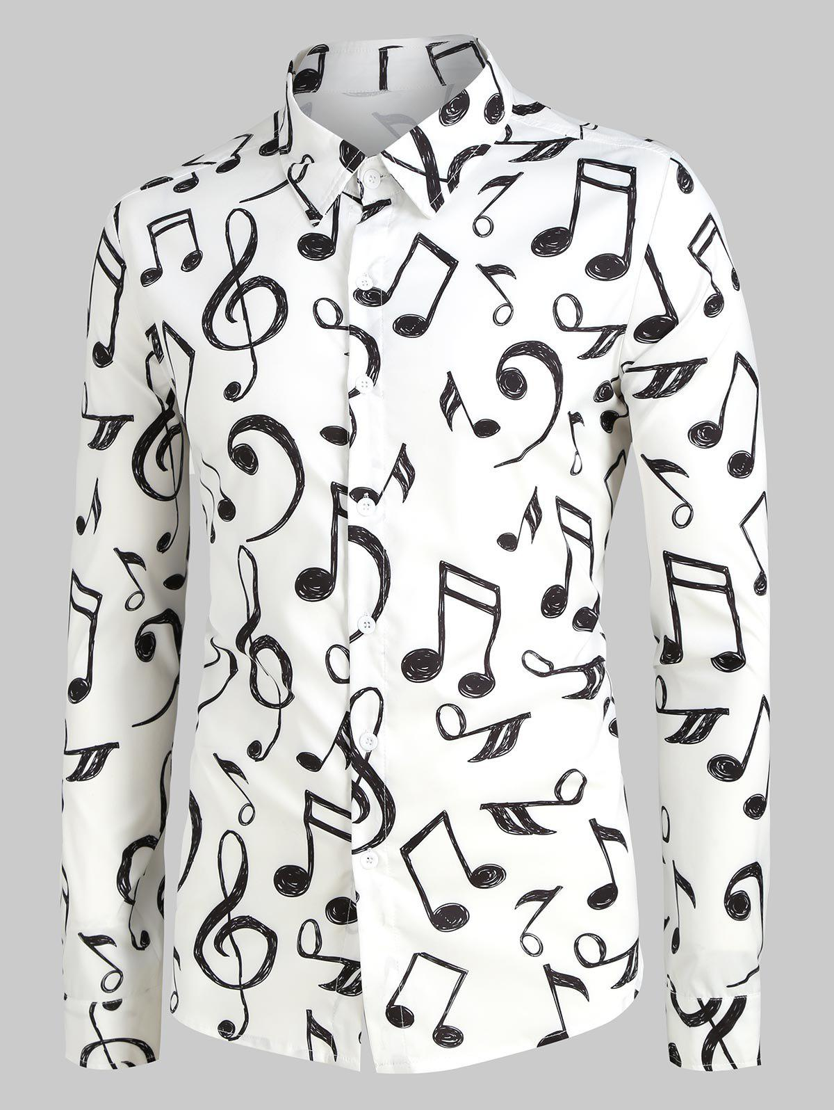 Shop Plus Size Music Notes Print Long Sleeve Festival Shirt