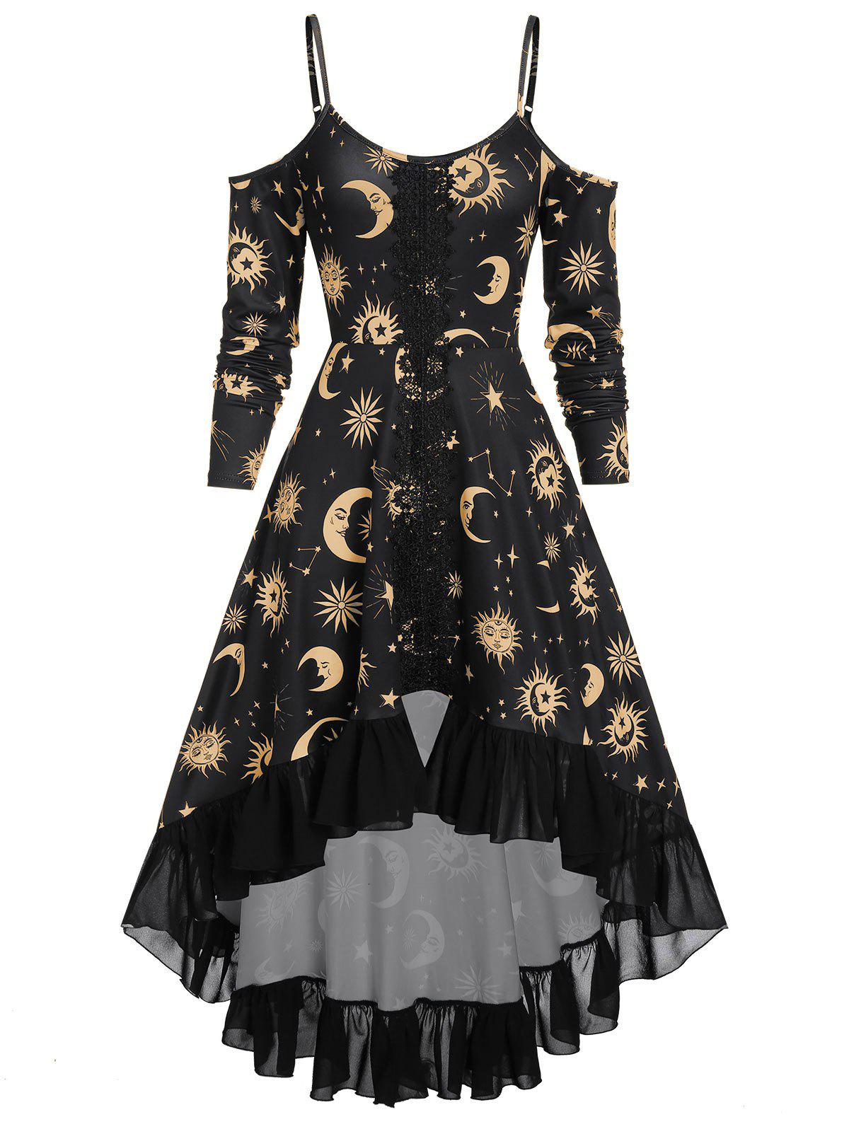Trendy Spaghetti Strap Open Shoulder Sun and Moon Print Gothic Dress