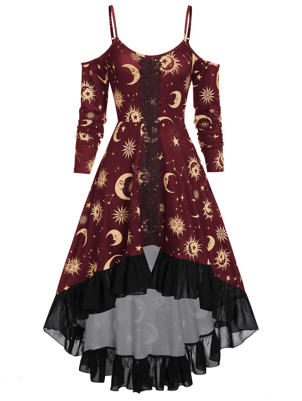 Fashion Spaghetti Strap Open Shoulder Sun and Moon Print Gothic Dress
