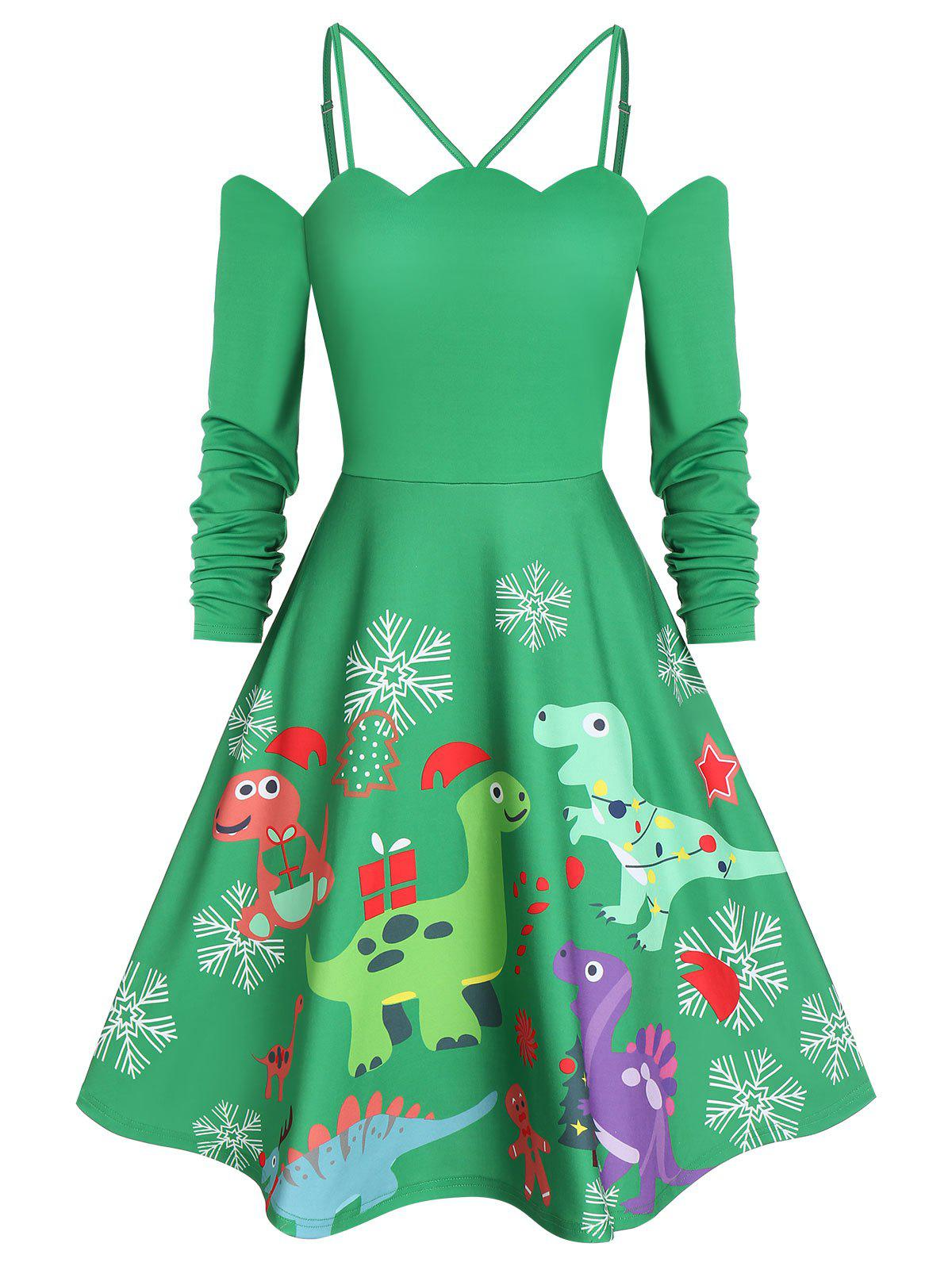 Shop Dinosaur Print Christmas Fit and Flare Dress