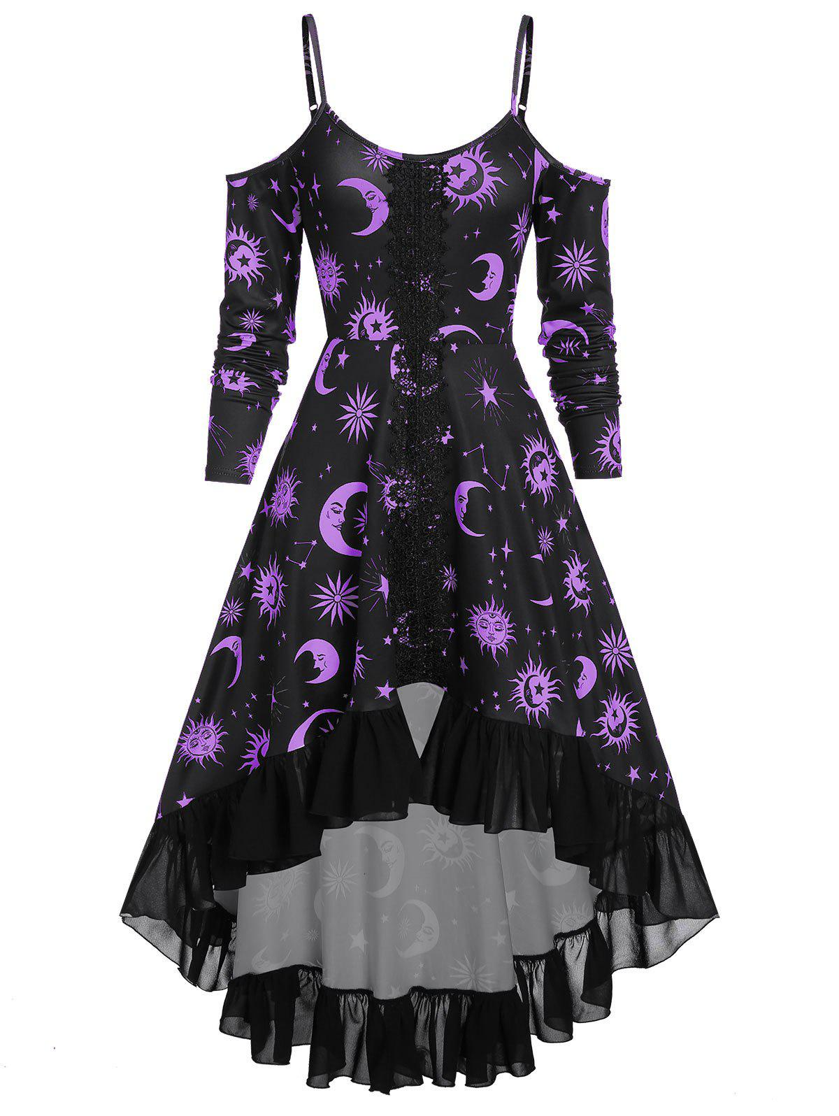 Outfits Spaghetti Strap Open Shoulder Sun and Moon Print Gothic Dress