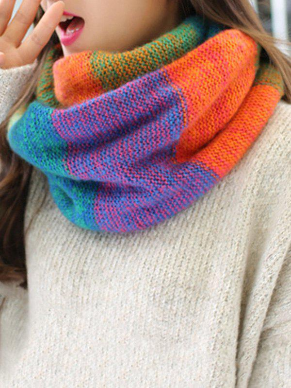 New Christmas Colored Striped Knitted Round Scarf