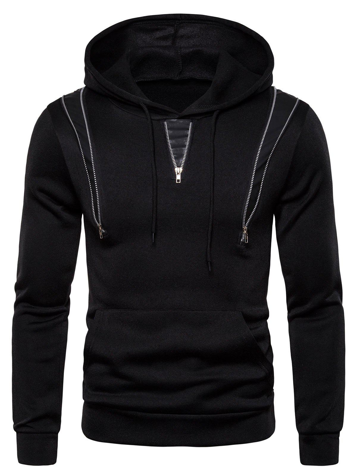 Store Zipper Decorated Color Spliced Casual Hoodie
