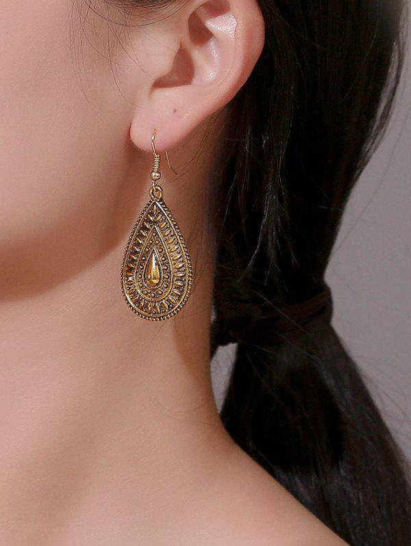 Affordable Ethnic Water Drop Engraved Earrings