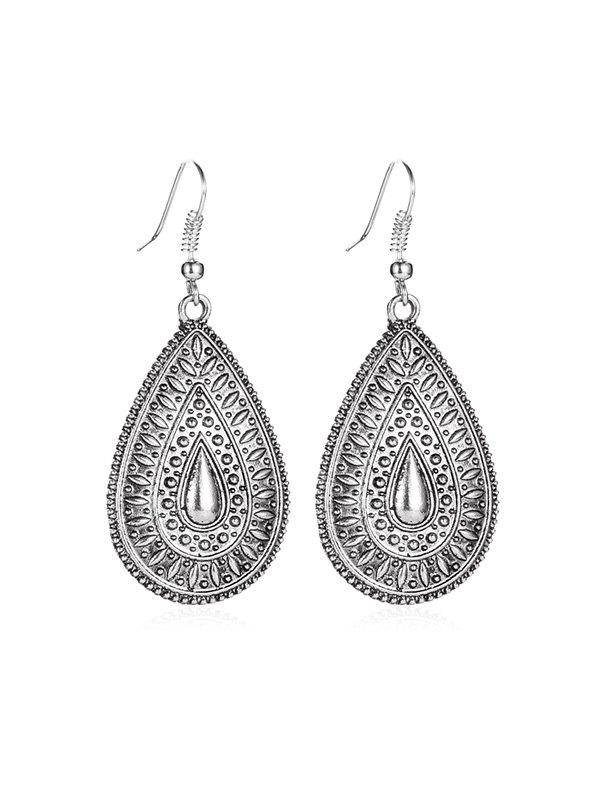 Chic Ethnic Water Drop Engraved Earrings