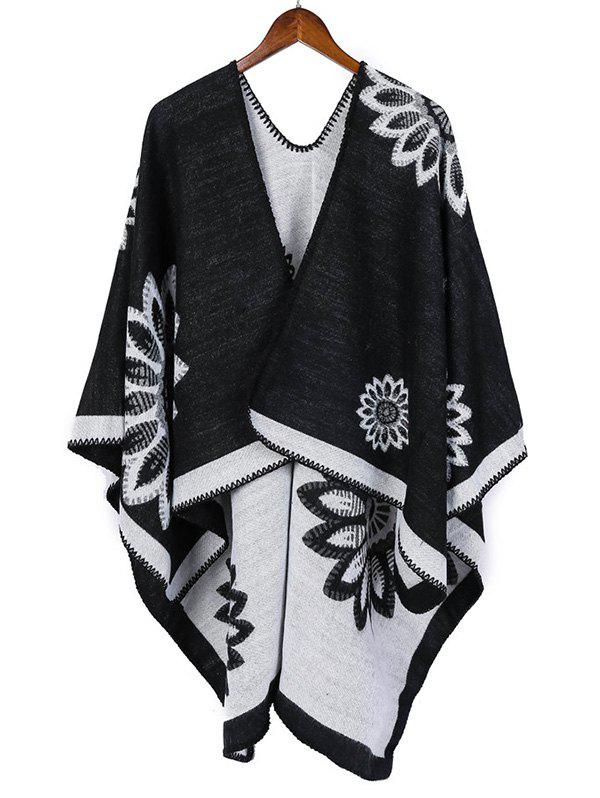Fancy Ethnic Color-blocking Floral Print Long Shawl