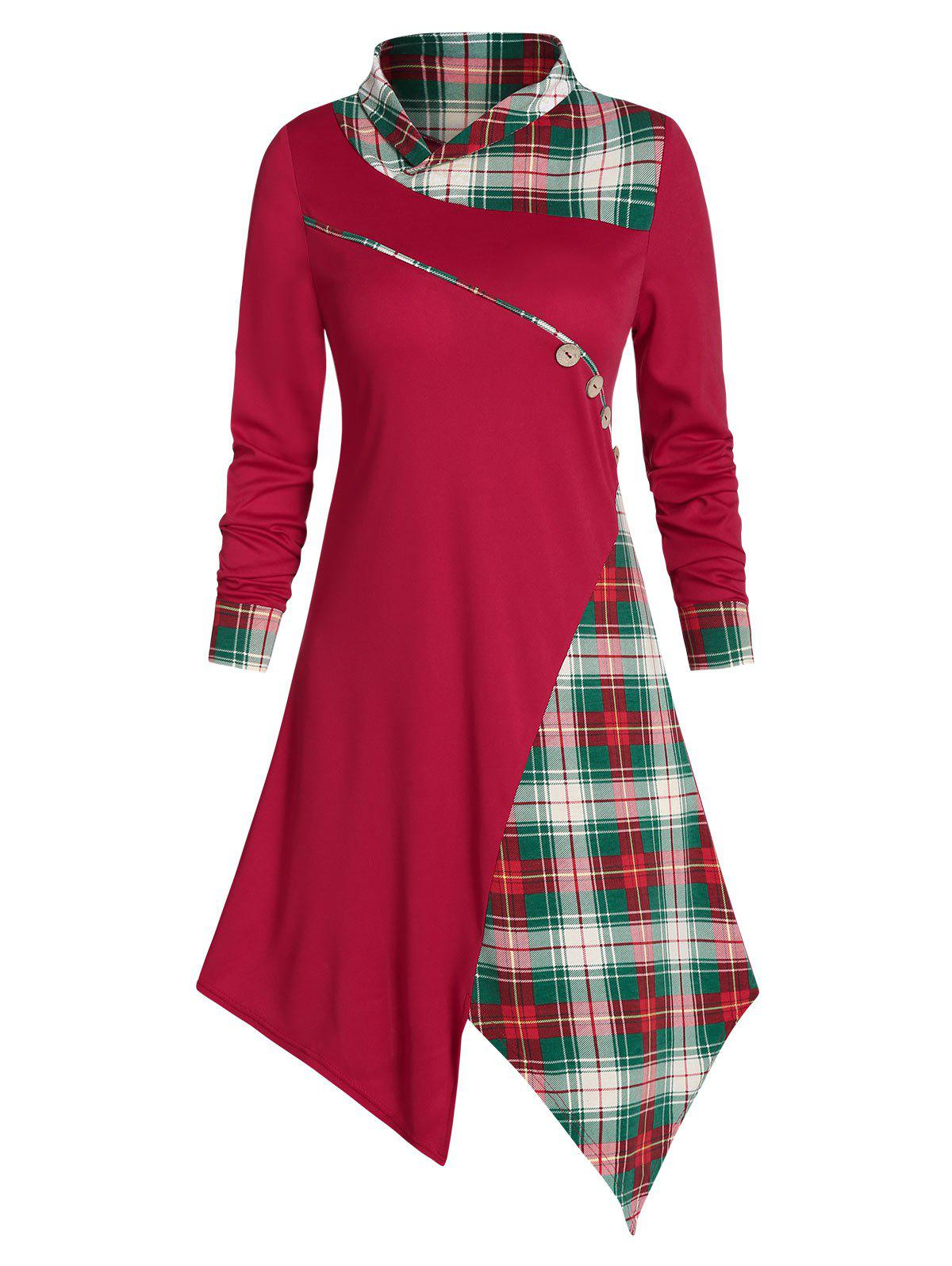 Cheap Asymmetrical Plaid Buttons Midi Dress