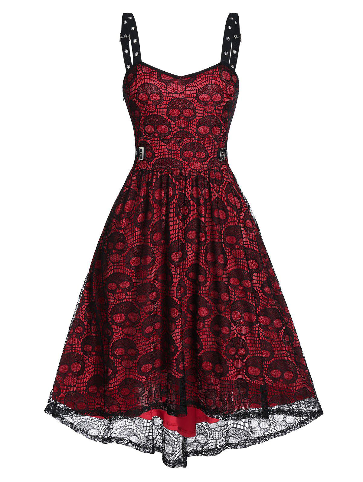 Buy Eyelet Buckle Skull Lace High Low Party Dress