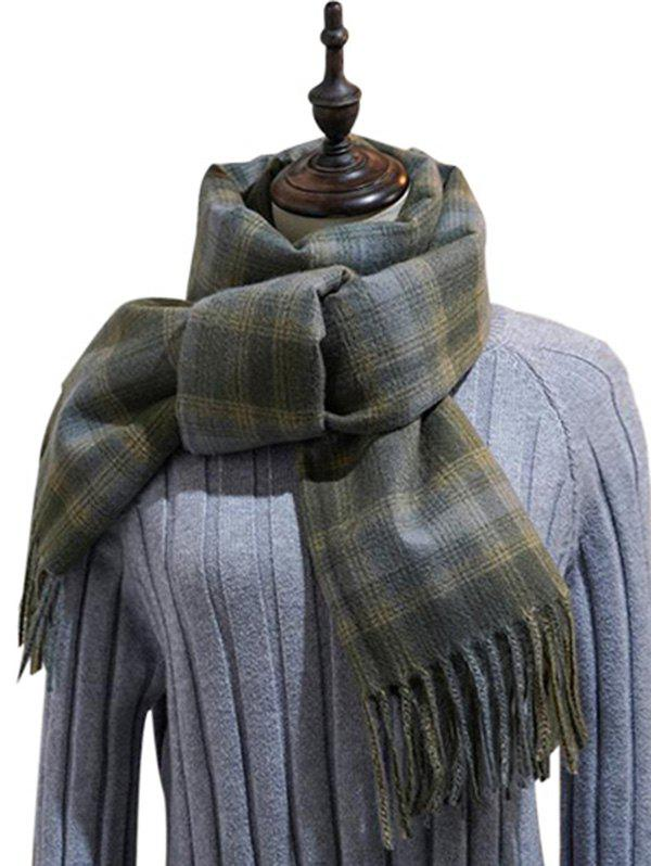 Buy British Style Plaid Fringe Long Scarf