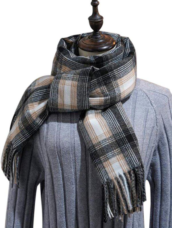 Sale British Style Plaid Fringe Long Scarf