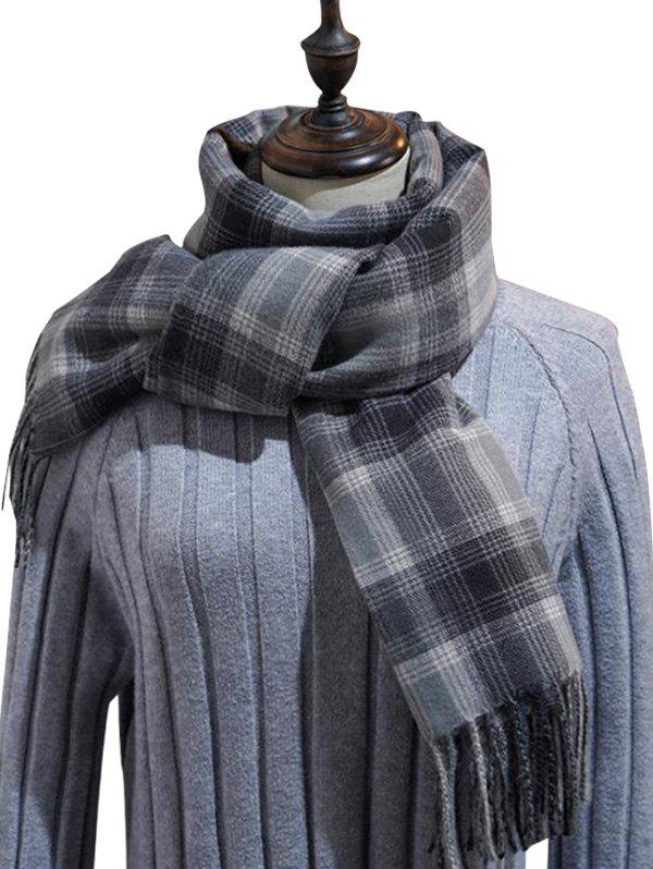 Outfit British Style Plaid Fringe Long Scarf