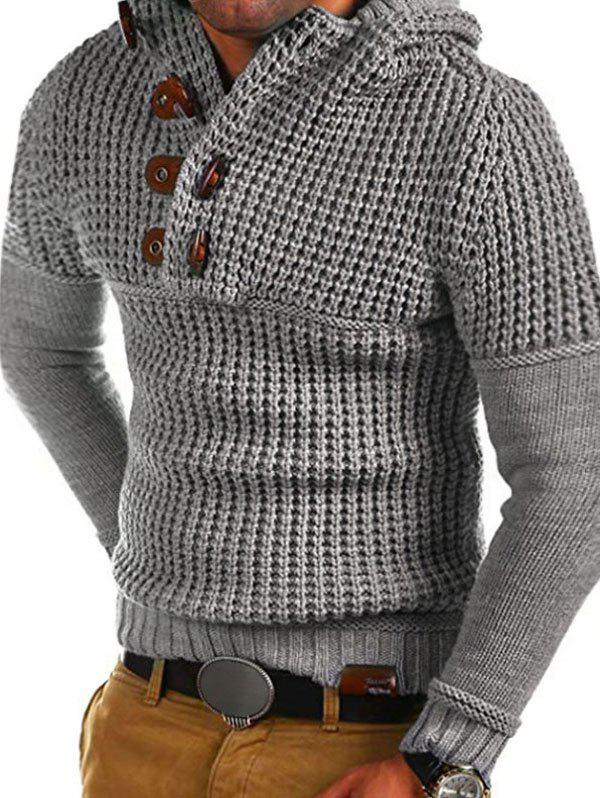 Trendy Horn Button Decoration Pullover Sweater
