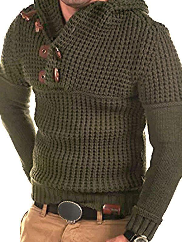 Affordable Horn Button Decoration Pullover Sweater