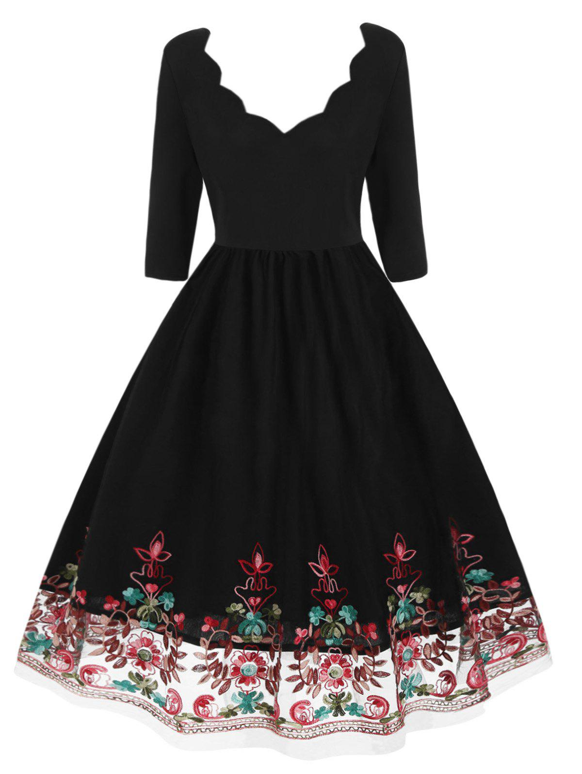 Sale Plus Size Vintage Floral Embroidered Pin Up Dress