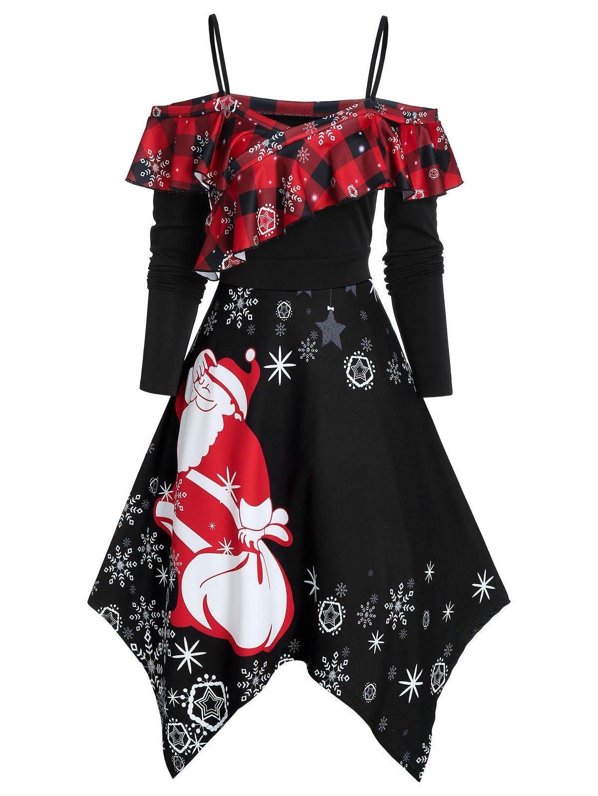 Store Cold Shoulder Ruffled Santa Claus Print Christmas Dress