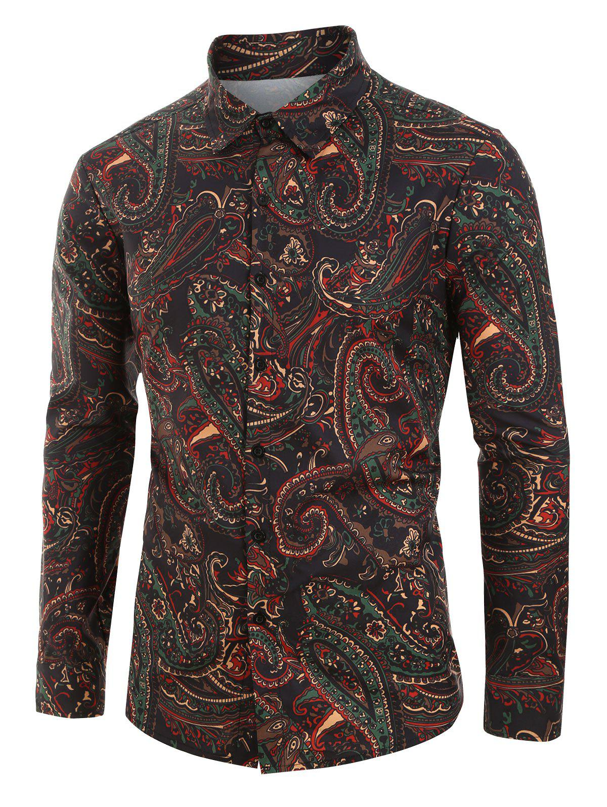 Outfits Plus Size Paisley Print Button Up Long Sleeve Shirt