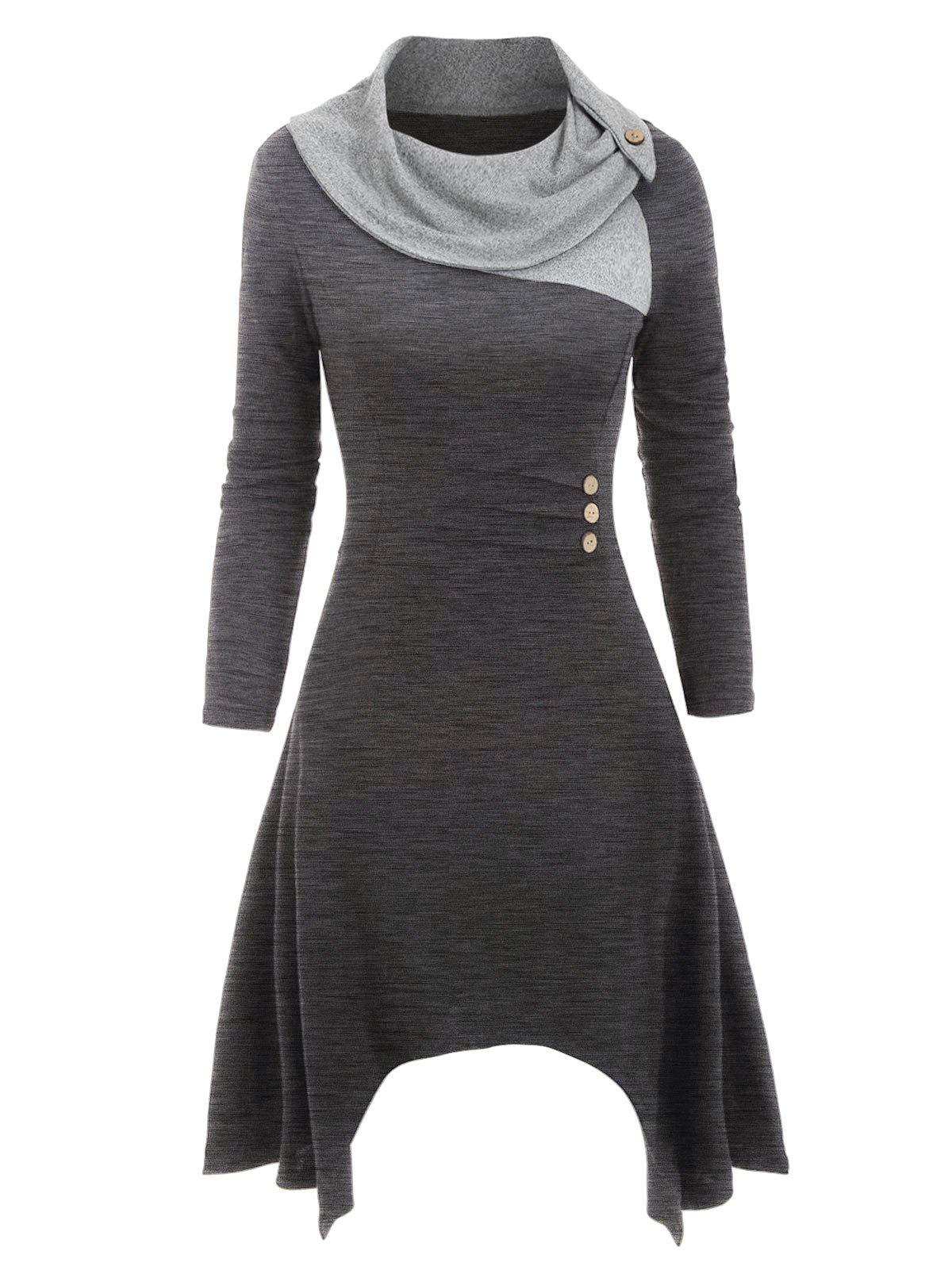 Sale Cowl Neck Mock Button Knitted Midi Dress