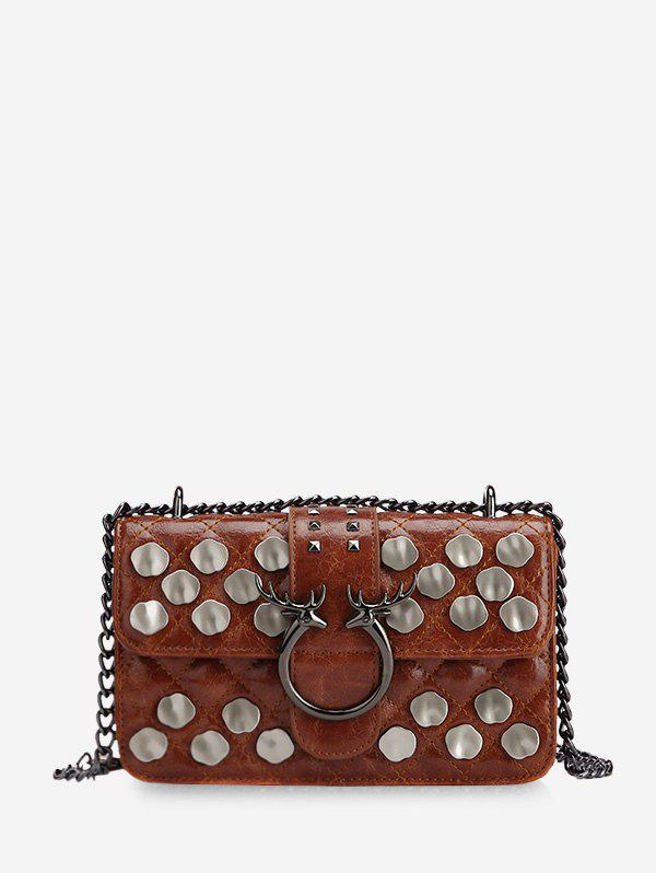 Sale Metal Studded Quilted Crossbody Bag