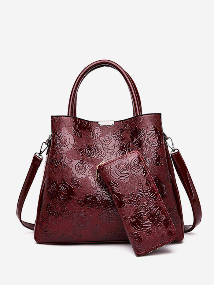 Sale Emboss Rose Pattern Handbag Set