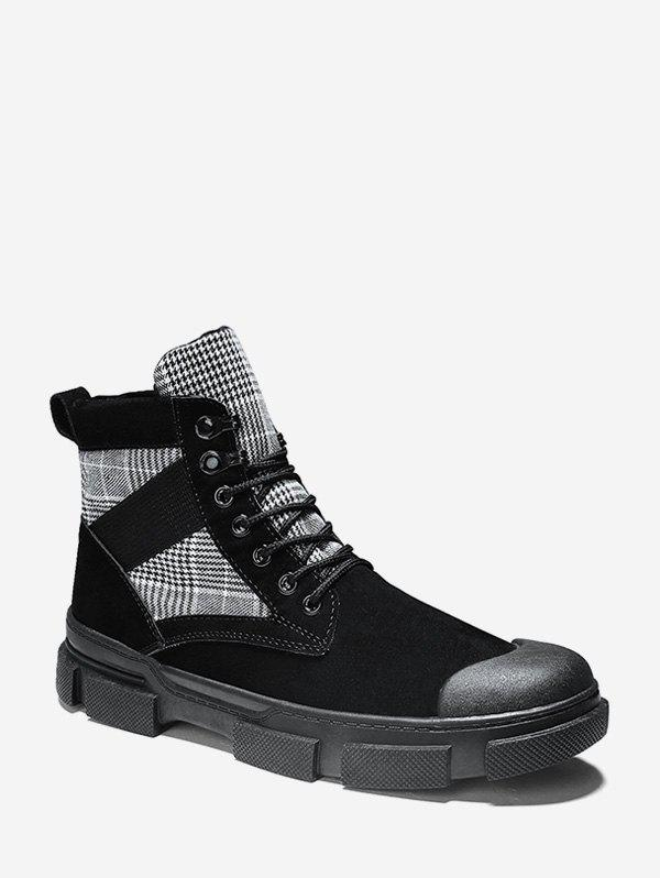 Hot Houndstooth Panel Lace Up Cargo Boots