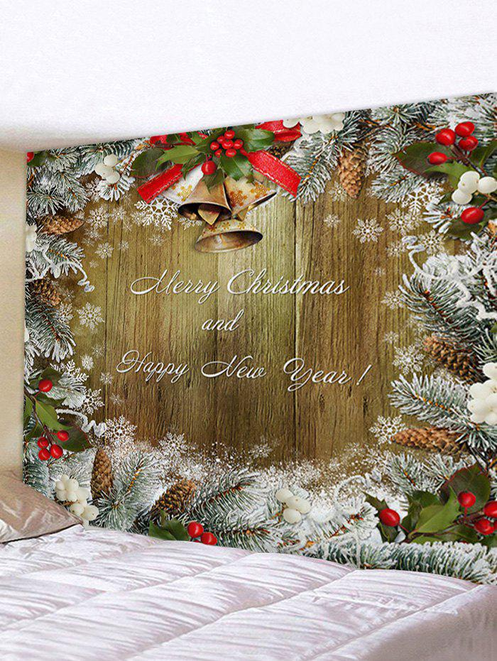 Hot Christmas Tree Branch and Greeting Print Tapestry Wall Hanging Art Decoration