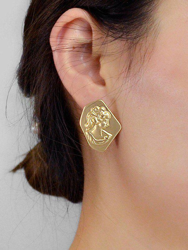 Shop Geometric Head Portrait Engraved Stud Earrings