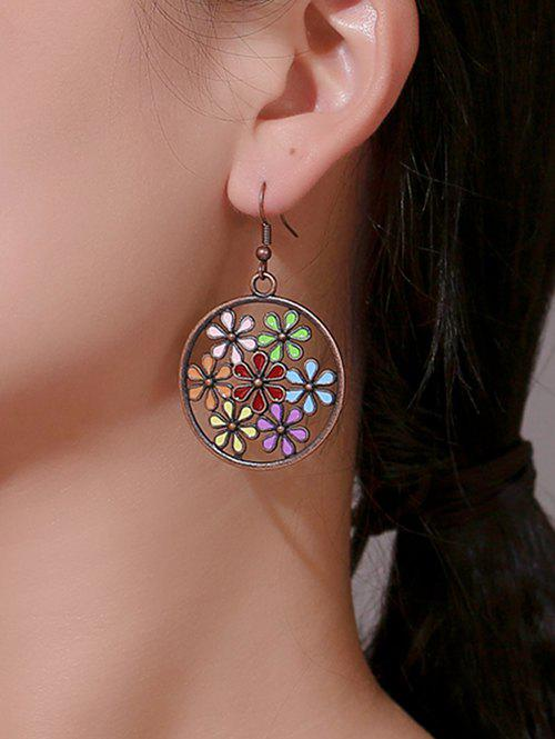 Store Archaic Flower Hollow Round Earrings