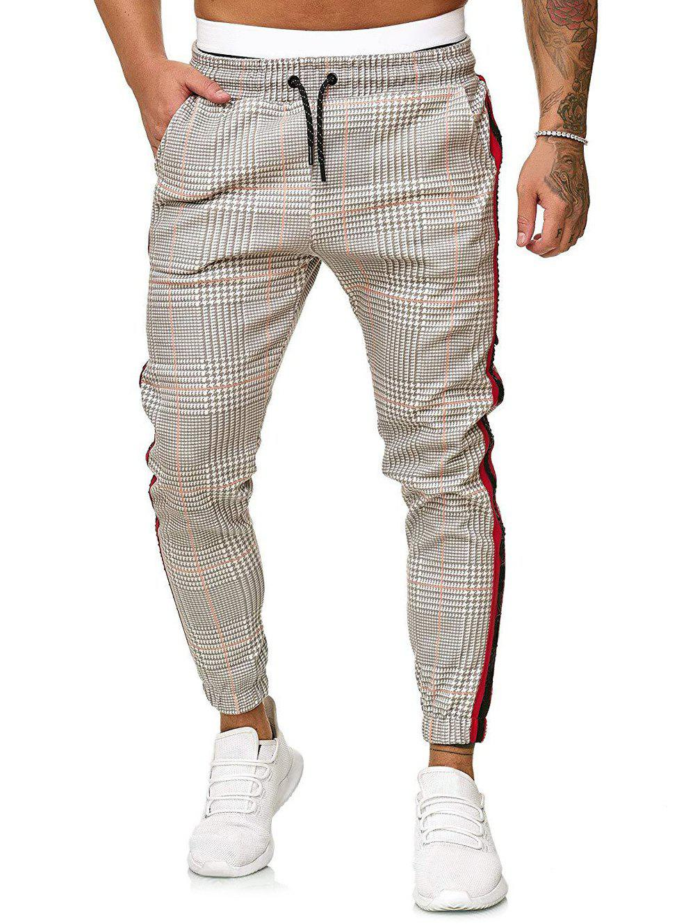Houndstooth Print Side Stripe Jogger Pants фото