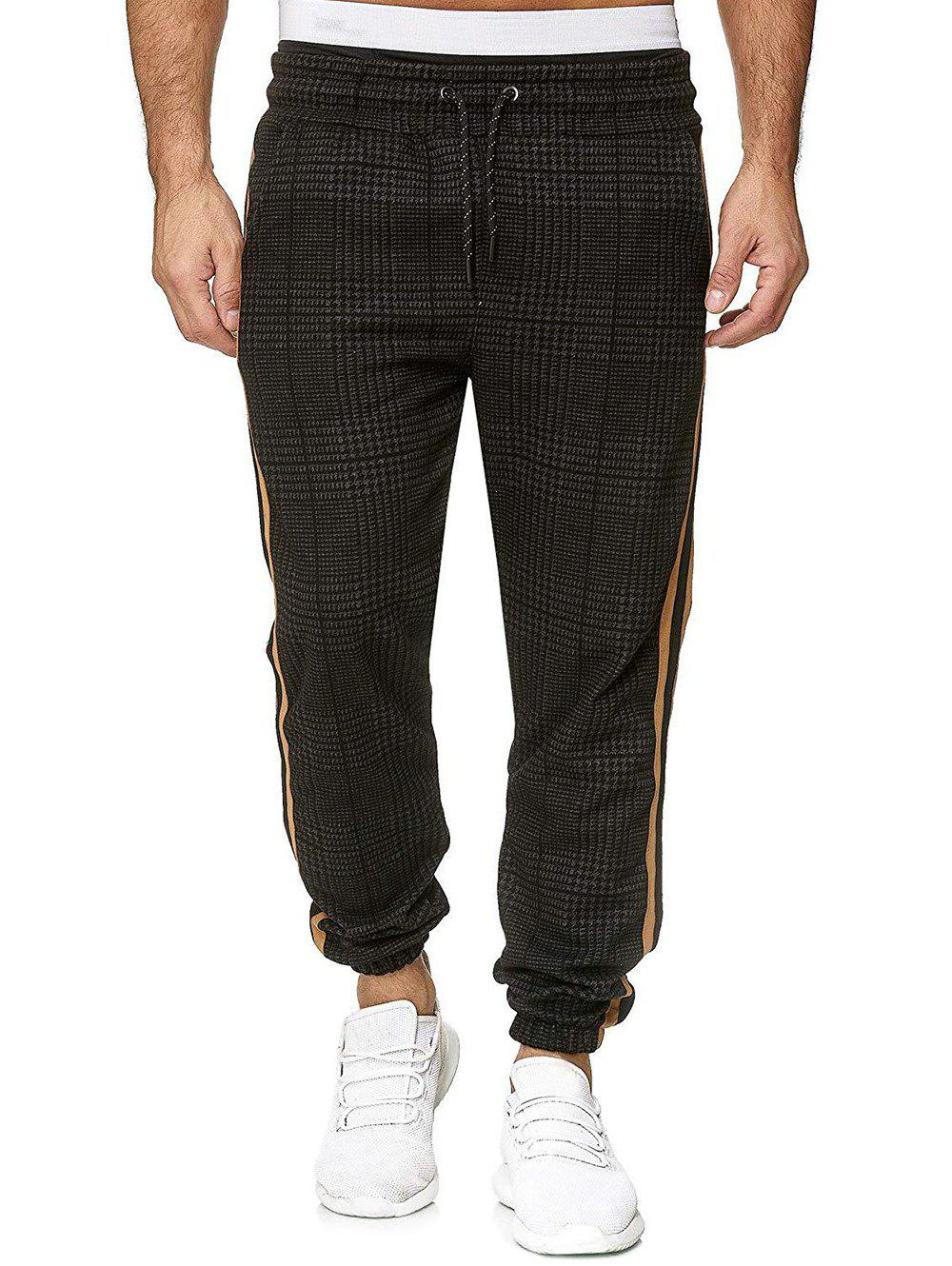 New Houndstooth Print Side Stripe Jogger Pants