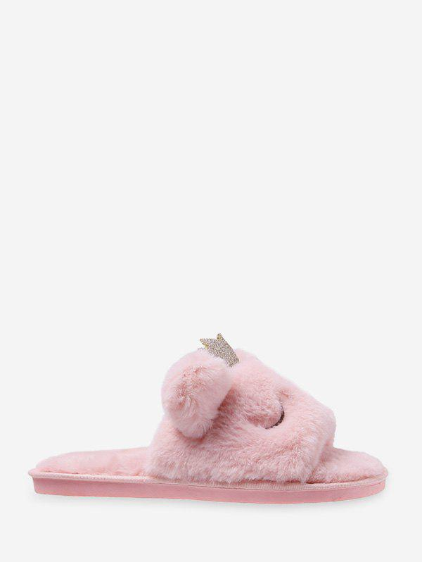 Shop Cute Crown Faux Fur Indoor Slippers