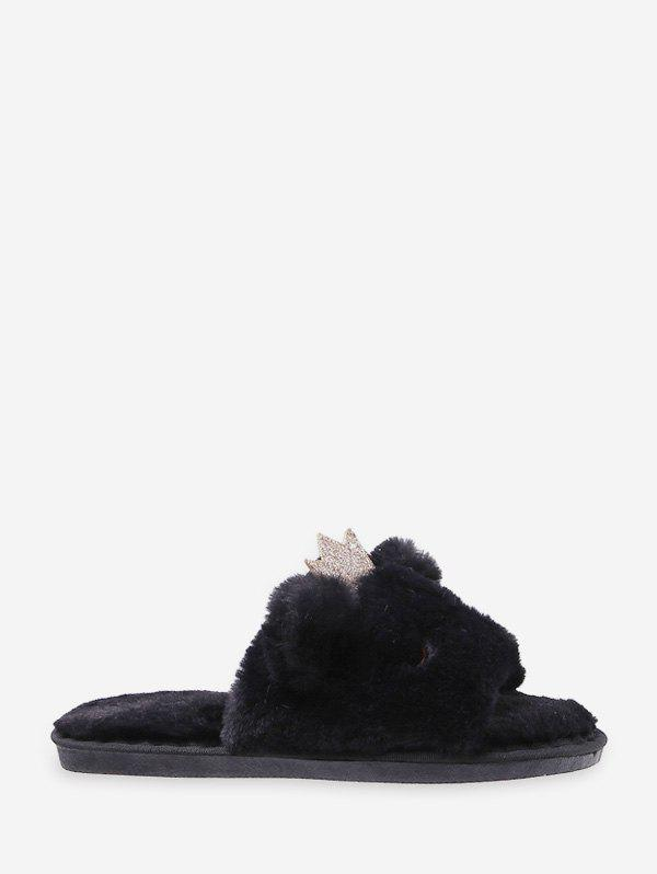 Latest Cute Crown Faux Fur Indoor Slippers