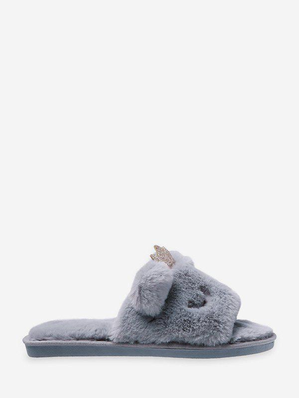 Buy Cute Crown Faux Fur Indoor Slippers