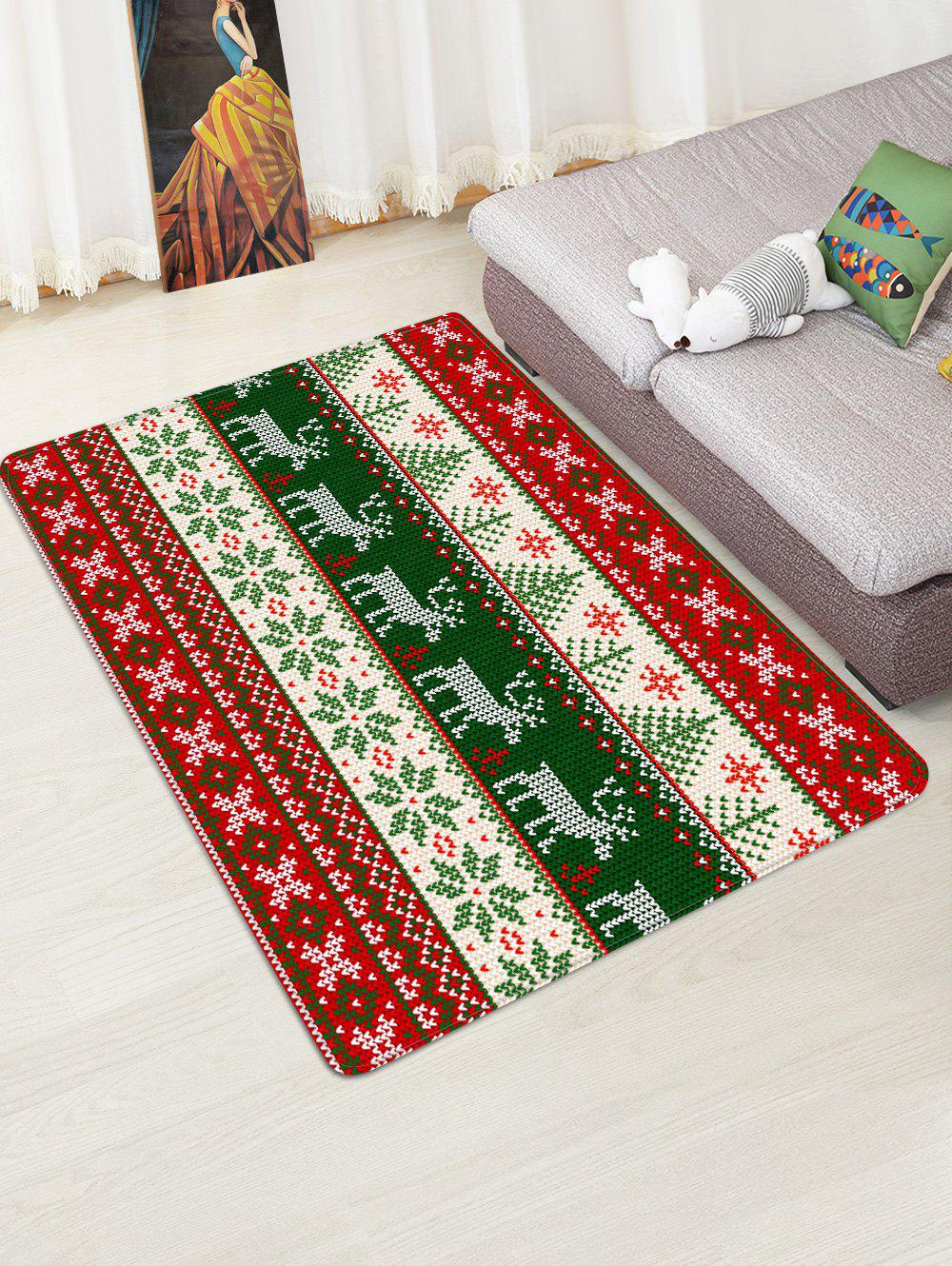 Outfit Christmas Deer and Snowflake Pattern Water Absorption Area Rug