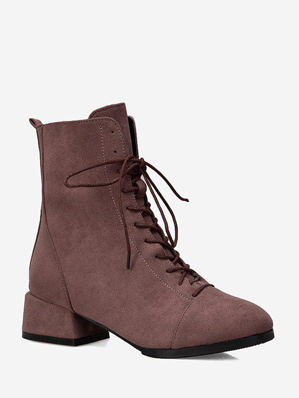 Outfit Plain Lace Up Suede Ankle Boots