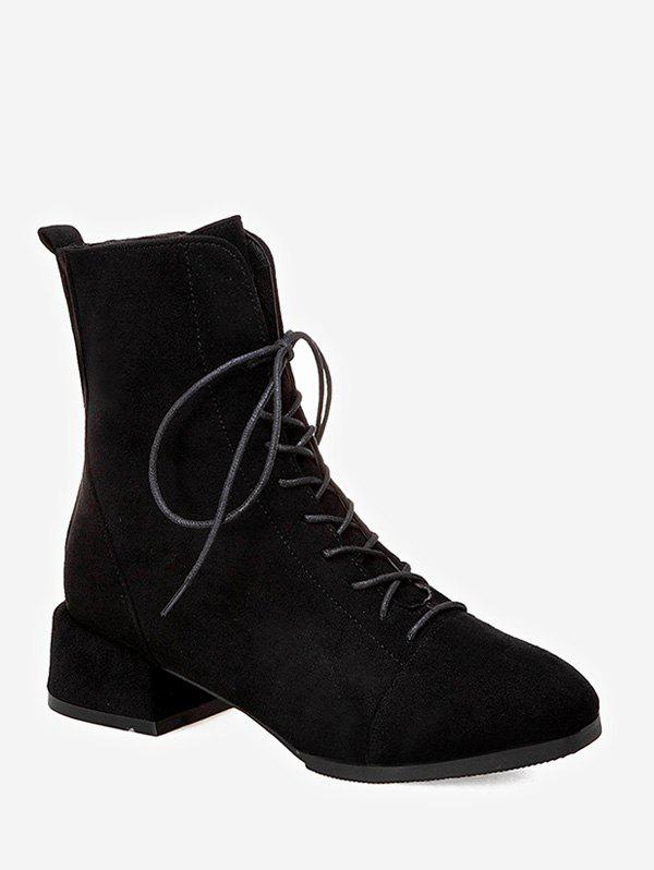 Trendy Plain Lace Up Suede Ankle Boots