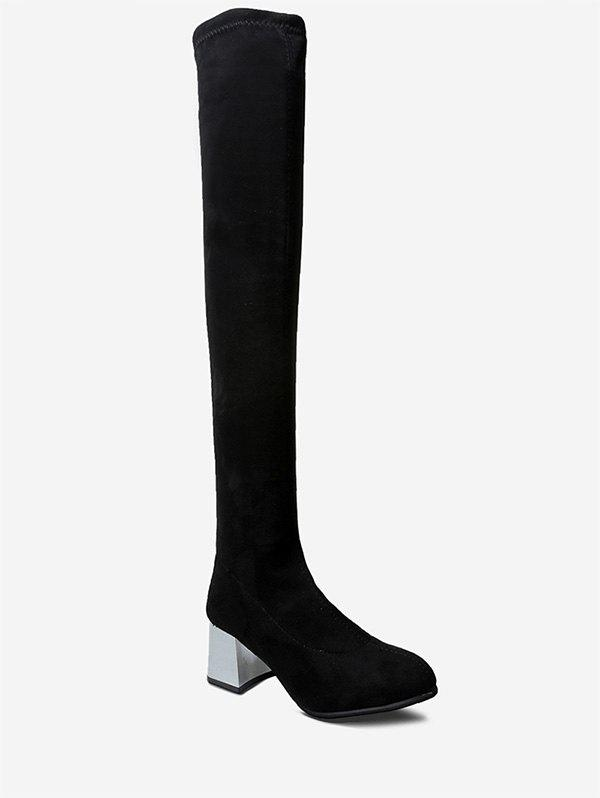 Shops Metallic Chunky Heel Brushed Thigh High Boots
