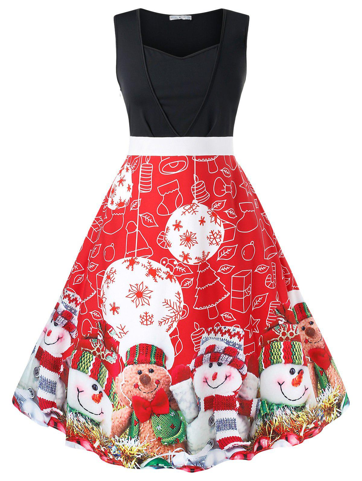 Plus Size Christmas Printed Vintage Party Dress